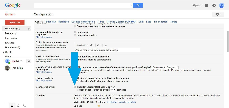 configuración general gmail deshacer envío