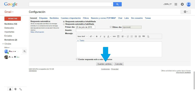 eliminar gmail guardar cambios