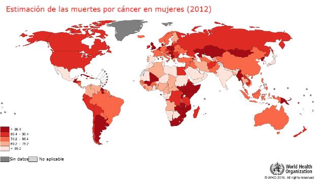 estimación de las muertes por cáncer en mujeres